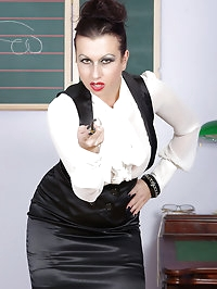 sexy clothed teacher on a sex machine