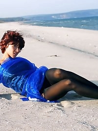 Hot leggy MILF in body stocking outdoor