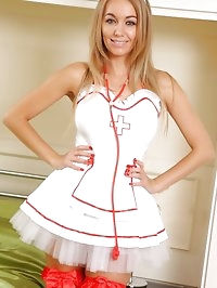 Sexy nurse wearing fancy red stockings.