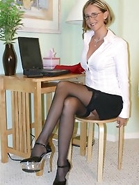 Sexy Glasses, Stockings, In Bedroom