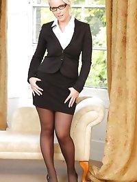 Busty Billie in her office uniform