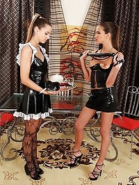 Latex mistress spanks French maid!