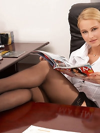 Blonde Emma gets laid at work