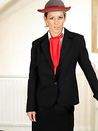 Sexy Sabrina in air hostess uniform