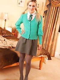 Sexy Faye X strips out of her college uniform and teases..