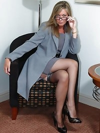 secretary in nylons flashing and toying