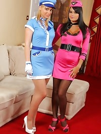 Bebe and Jenna J look stunning in their air hostess outfits.