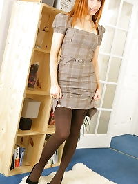 Saucy secretary Alexandra in a smart dress with pretty..