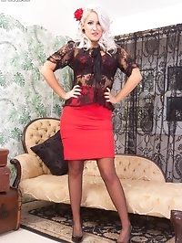 Lady in red retro lingerie Lu is feeling very horny on the..