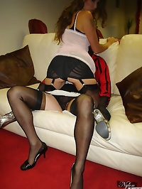 Jane makes her tgirl friend wear sexy black nylons