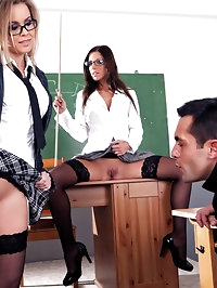 Two anatomy teachers share a students cock