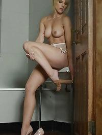 Blonde Headmistress Mackenzie lingerie pictures