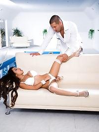 Long hair petite latina in white stockings fucking a cock