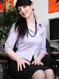 Irish girl Aideen fucks herself at her desk