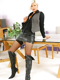 Super sexy Jo Guest in secretary outfit with stockings