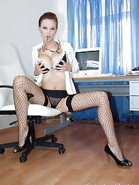 Busty hot secretary Tarra in black fishnets