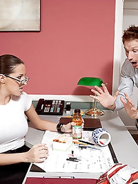 Kortney Kane enjoys her lunch break at work by having her..