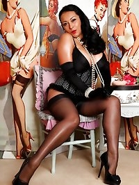 Danica the sexy pin-up in stockings, corset, gloves and..